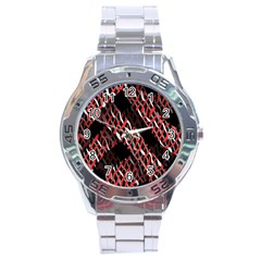 Weave And Knit Pattern Seamless Stainless Steel Analogue Watch