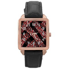 Weave And Knit Pattern Seamless Rose Gold Leather Watch