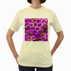 Watercolour Paint Dripping Ink Women s Yellow T Shirt