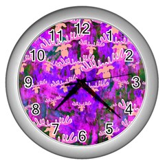 Watercolour Paint Dripping Ink Wall Clocks (Silver)