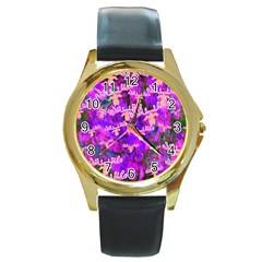 Watercolour Paint Dripping Ink Round Gold Metal Watch