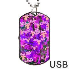 Watercolour Paint Dripping Ink Dog Tag Usb Flash (one Side)