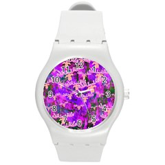Watercolour Paint Dripping Ink Round Plastic Sport Watch (M)