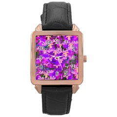 Watercolour Paint Dripping Ink Rose Gold Leather Watch