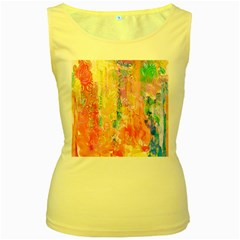 Watercolour Watercolor Paint Ink Women s Yellow Tank Top