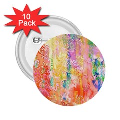 Watercolour Watercolor Paint Ink 2.25  Buttons (10 pack)