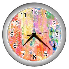 Watercolour Watercolor Paint Ink Wall Clocks (Silver)