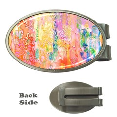 Watercolour Watercolor Paint Ink Money Clips (oval)
