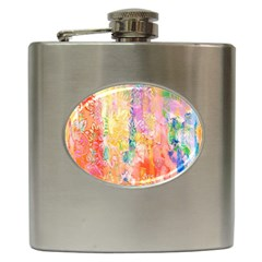 Watercolour Watercolor Paint Ink Hip Flask (6 oz)