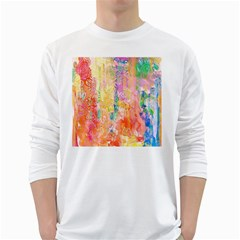 Watercolour Watercolor Paint Ink White Long Sleeve T-Shirts