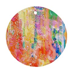 Watercolour Watercolor Paint Ink Round Ornament (Two Sides)