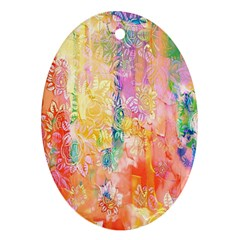 Watercolour Watercolor Paint Ink Oval Ornament (Two Sides)