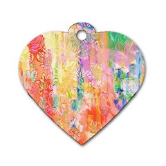 Watercolour Watercolor Paint Ink Dog Tag Heart (two Sides)