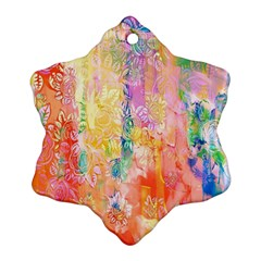 Watercolour Watercolor Paint Ink Snowflake Ornament (Two Sides)