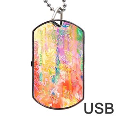 Watercolour Watercolor Paint Ink Dog Tag Usb Flash (one Side)