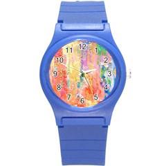 Watercolour Watercolor Paint Ink Round Plastic Sport Watch (S)