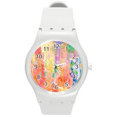 Watercolour Watercolor Paint Ink Round Plastic Sport Watch (M)