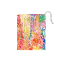 Watercolour Watercolor Paint Ink Drawstring Pouches (Small)
