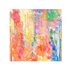 Watercolour Watercolor Paint Ink Small Satin Scarf (square)