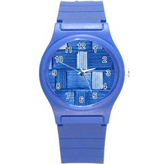 Wall Tile Design Texture Pattern Round Plastic Sport Watch (S)