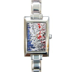 Water Reflection Abstract Blue Rectangle Italian Charm Watch