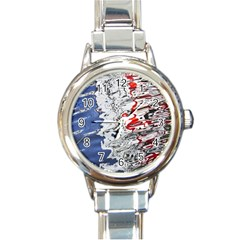 Water Reflection Abstract Blue Round Italian Charm Watch