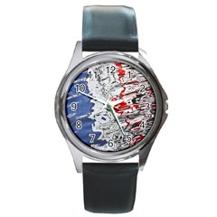 Water Reflection Abstract Blue Round Metal Watch
