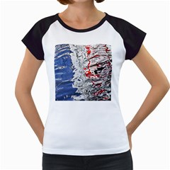 Water Reflection Abstract Blue Women s Cap Sleeve T