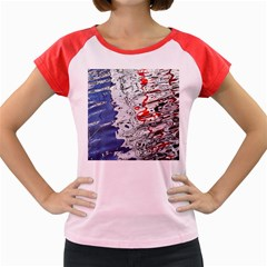 Water Reflection Abstract Blue Women s Cap Sleeve T Shirt