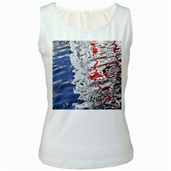 Water Reflection Abstract Blue Women s White Tank Top