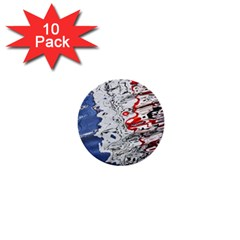 Water Reflection Abstract Blue 1  Mini Buttons (10 Pack)