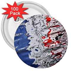 Water Reflection Abstract Blue 3  Buttons (100 pack)