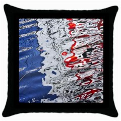 Water Reflection Abstract Blue Throw Pillow Case (black)