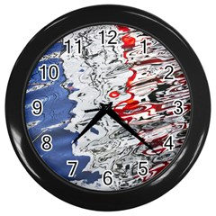 Water Reflection Abstract Blue Wall Clocks (black)