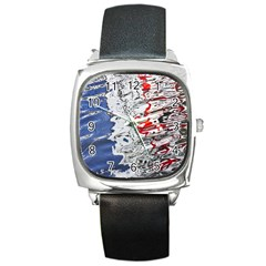 Water Reflection Abstract Blue Square Metal Watch