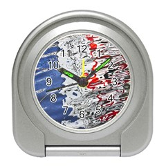 Water Reflection Abstract Blue Travel Alarm Clocks