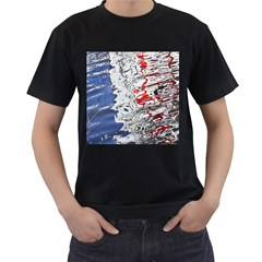 Water Reflection Abstract Blue Men s T-Shirt (Black) (Two Sided)