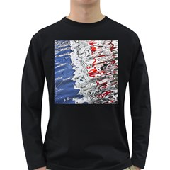 Water Reflection Abstract Blue Long Sleeve Dark T-Shirts