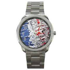 Water Reflection Abstract Blue Sport Metal Watch