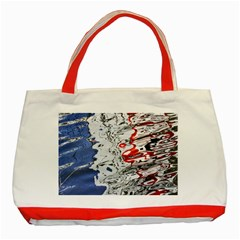 Water Reflection Abstract Blue Classic Tote Bag (Red)