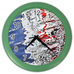 Water Reflection Abstract Blue Color Wall Clocks
