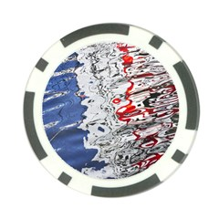 Water Reflection Abstract Blue Poker Chip Card Guard