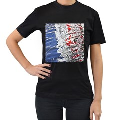 Water Reflection Abstract Blue Women s T-Shirt (Black)