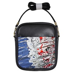 Water Reflection Abstract Blue Girls Sling Bags
