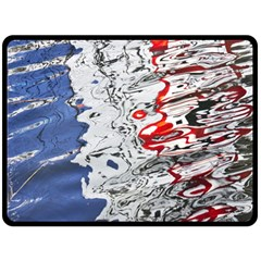 Water Reflection Abstract Blue Fleece Blanket (Large)