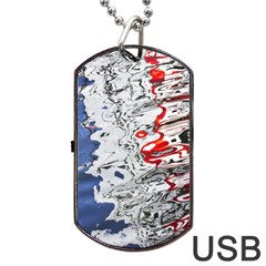 Water Reflection Abstract Blue Dog Tag USB Flash (One Side)