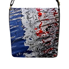 Water Reflection Abstract Blue Flap Messenger Bag (l)