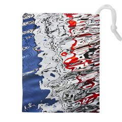 Water Reflection Abstract Blue Drawstring Pouches (XXL)