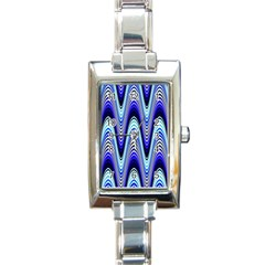 Waves Wavy Blue Pale Cobalt Navy Rectangle Italian Charm Watch