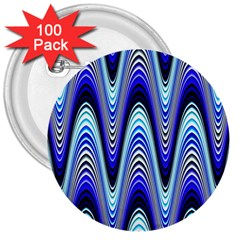 Waves Wavy Blue Pale Cobalt Navy 3  Buttons (100 Pack)